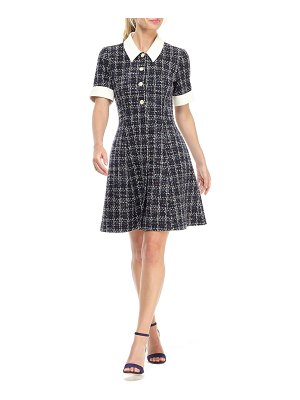 Gal Meets Glam Collection leslie boucle tweed button front fit & flare dress