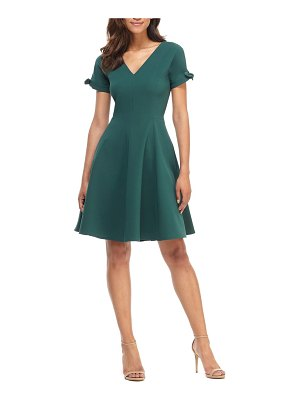 Gal Meets Glam Collection serena tie cuff fit & flare dress