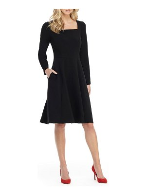 Gal Meets Glam Collection holly square neck long sleeve fit & flare dress