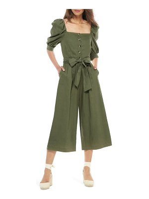 Gal Meets Glam Collection sylvie puff sleeve linen blend jumpsuit