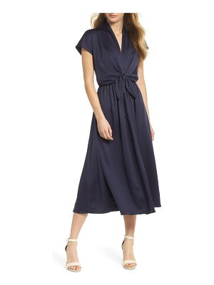 Gal Meets Glam Collection tie waist satin midi dress