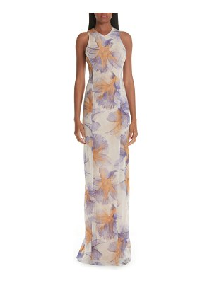 Galvan London abstract floral print gown