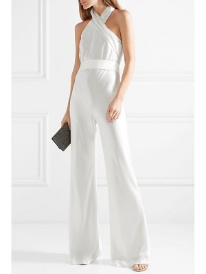 Galvan London asymmetric satin halterneck jumpsuit