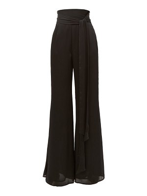 Galvan London belted high-rise textured-satin wide-leg trousers