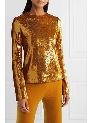 Galvan London clara sequined satin top