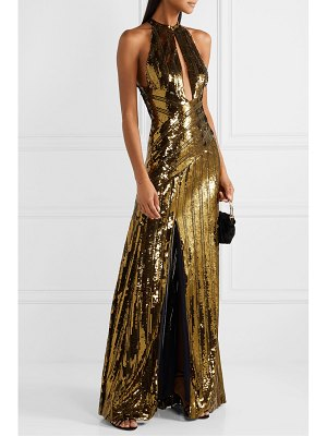 Galvan London cutout sequined tulle gown