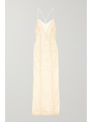Galvan London hollywood paillette-embellished metallic tulle gown