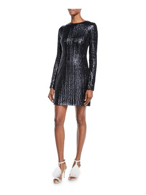 Galvan London Long-Sleeve Sequined Body-Con Mini Dress