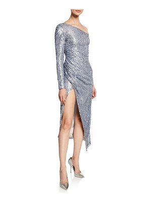 Galvan London Mammounia Sequined One-Shoulder High-Slit Dress