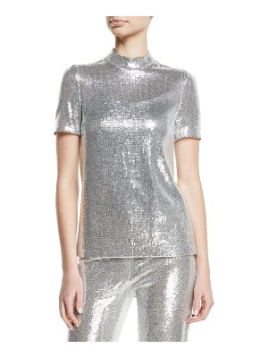 Galvan London Mock-Neck Stretch Sequin Galaxy Top