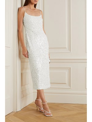 Galvan London mykonos sequined metallic tulle midi dress