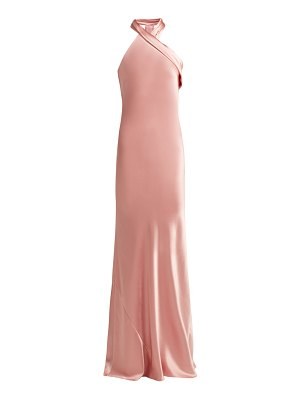Galvan London pandora silk satin halterneck gown