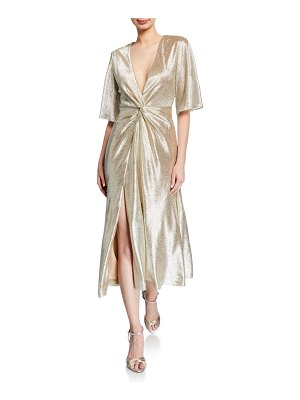 Galvan London Shimmery Twisted Midi Dress