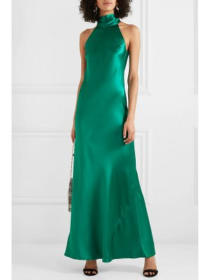 Galvan London sienna silk-satin halterneck gown