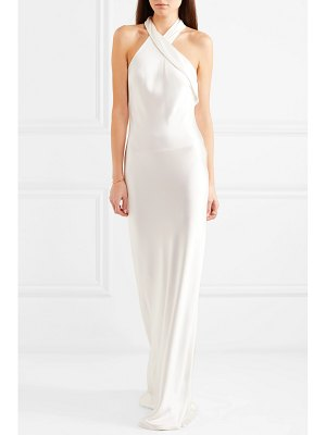 Galvan London silk-satin halterneck gown
