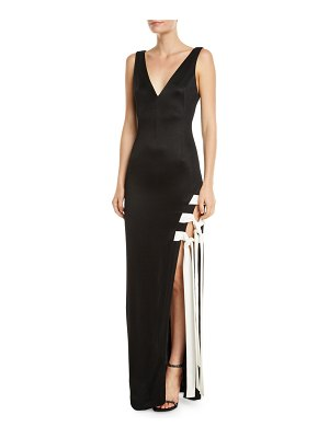 Galvan London Sleeveless Lace-Up High-Slit Jersey Gown