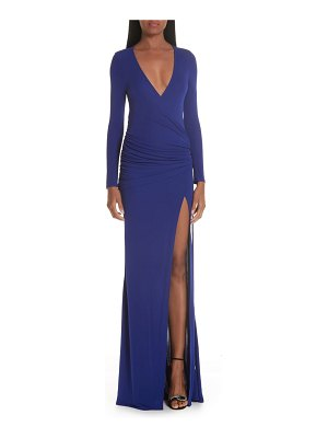 Galvan London slit hem ruched jersey maxi dress