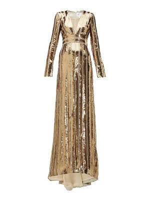 Galvan London stardust plunge-neck sequinned gown