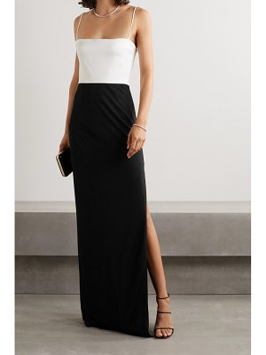 Galvan London two-tone crepe gown