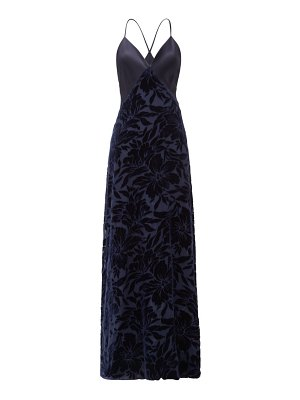 Galvan London winter jungle floral-devoré and satin gown