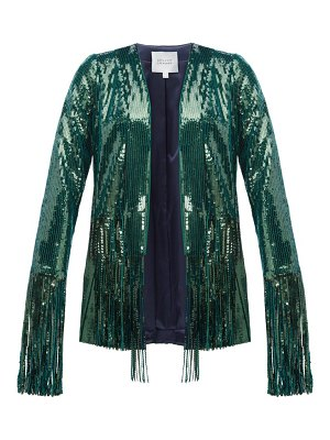 Galvan London winter jungle fringed sequinned jacket