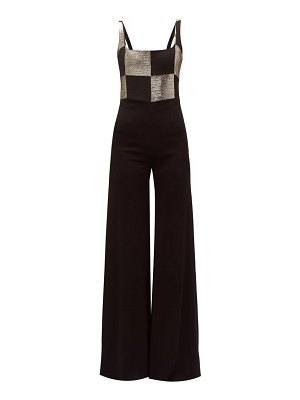 Galvan London ziggy checkerboard bodice wide leg satin jumpsuit