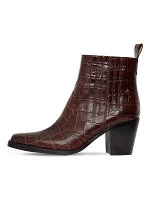 Ganni 70mm western croc embossed leather boots