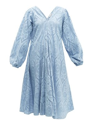 Ganni balloon-sleeved broderie-anglaise cotton dress