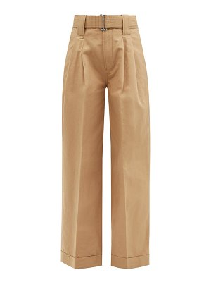 Ganni belted pleated organic cotton-blend trousers