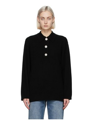 Ganni black cashmere knit blouse polo