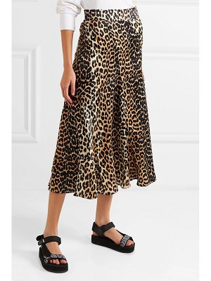 Ganni leopard-print stretch-silk skirt