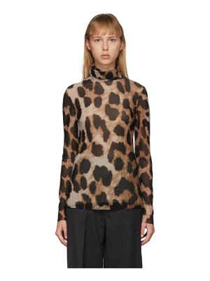 Ganni brown and beige mesh leopard turtleneck