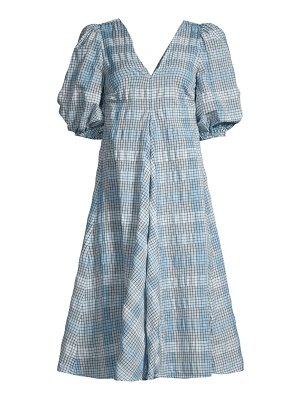 Ganni check seersucker puff-sleeve dress