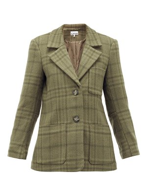 Ganni checked wool-blend blazer