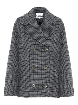 Ganni checked wool-blend jacket