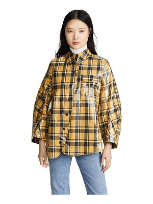 Ganni coated flannel blouse