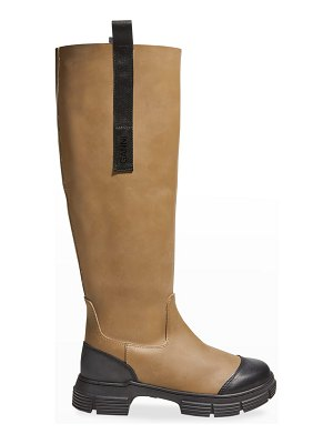 Ganni Country Bicolor Leather Tall Boots