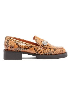 Ganni crystal-button python-effect leather loafers
