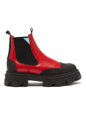 Ganni exaggerated-sole leather chelsea boots