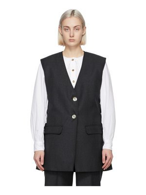 Ganni grey wool suiting vest