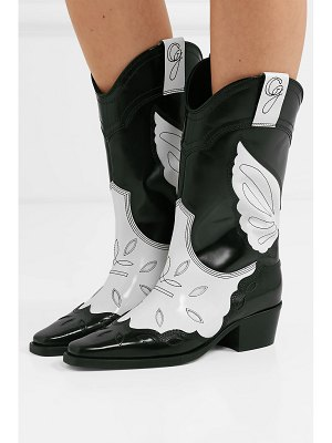 Ganni high texas two-tone embroidered leather boots