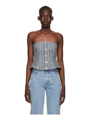 Ganni indigo & white denim mixed stripe camisole