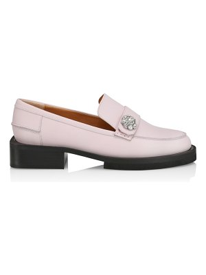 Ganni jewel-embellished leather loafers
