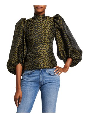 Ganni Leopard-Print Jacquard Blouse w/ Exaggerated Sleeves