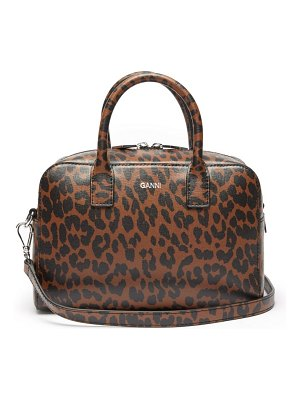 Ganni leopard-print leather cross-body bag
