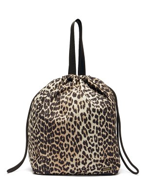 Ganni leopard-print recycled-fibre shell tote bag