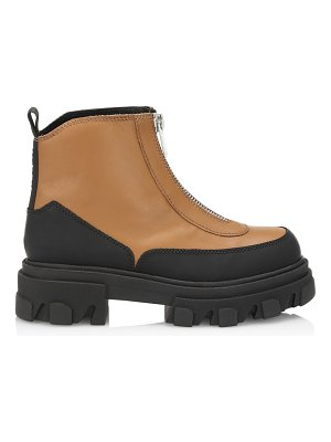 Ganni lug-sole leather combat boots