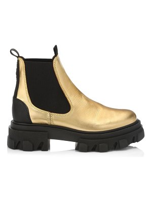 Ganni metallic leather chelsea boots