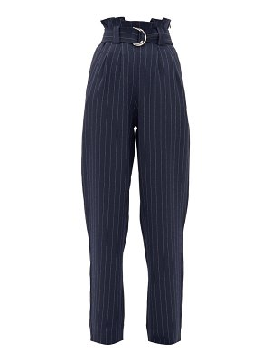 Ganni paperbag-waist pinstriped-crepe trousers