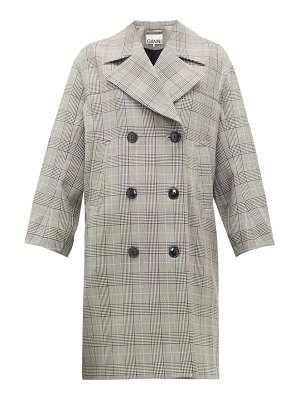 Ganni prince of wales-check double-breasted coat
